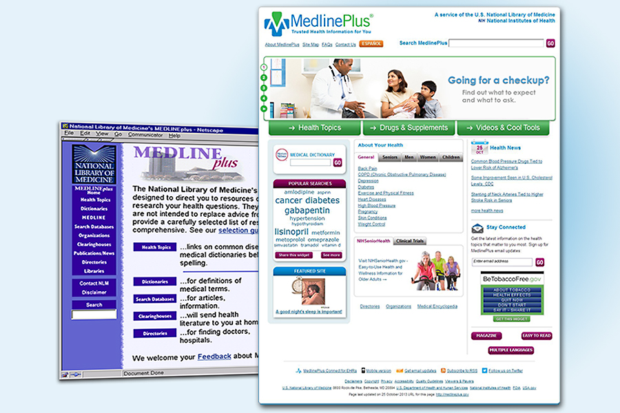 Collage of current and previous MedlinePlus Home page