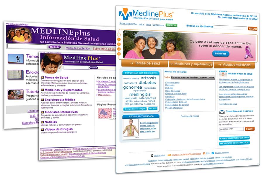 Diferentes estilos de MedlinePlus en español a través de los años.