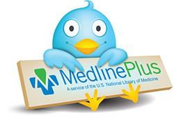 Twitter bird holding a MedlinePlus logo sign