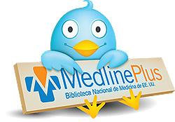 Pájaro Twitter con el logo de MedlinePlus en español