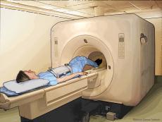 Ilustración del procedimiento que produce una imagen de resonancia magnética del abdomen