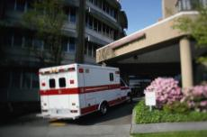 Photograph of an ambulance at a hospital