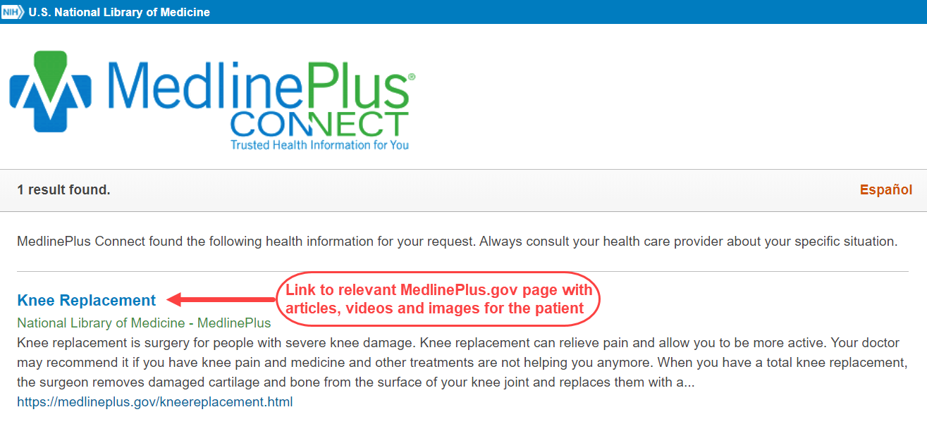 A sample MedlinePlus Connect Web application patient response page on Knee Replacement that contains links to the relevant MedlinePlus page with extensive articles, videos and images and also links to short summaries and instructions