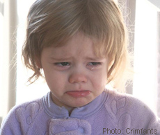 A photograph of a toddler crying