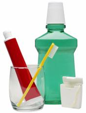 Photograph of dental hygiene supplies