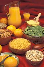 Photograph of folate-rich foods