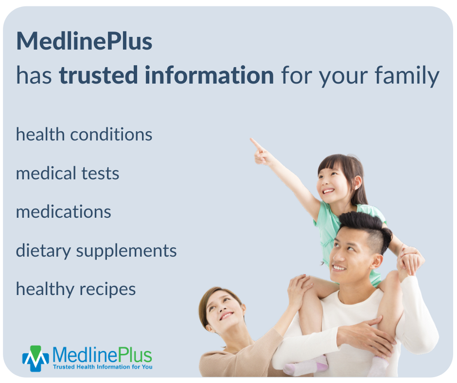 Young family smiling with daughter pointing to the sky and the MedlinePlus logo.