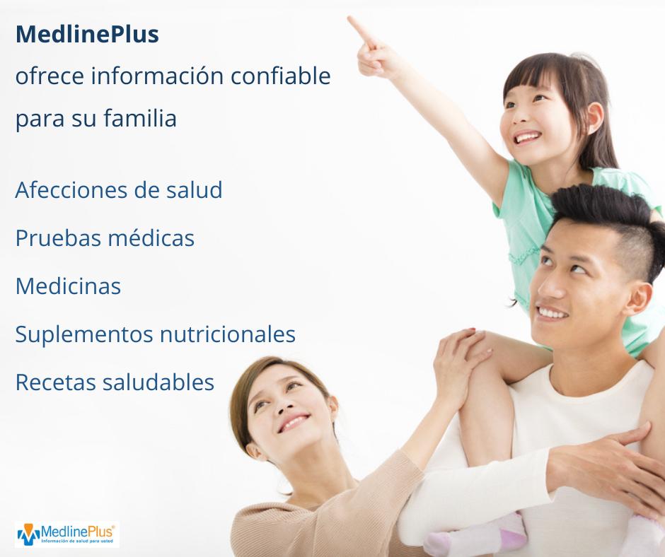 Familia joven sonriendo con la hija apuntando al cielo y logo de MedlinePlus.