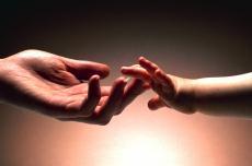 Fotografía de una mano adulta tomando la de un recién nacido