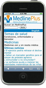 Mobile MedlinePlus Spanish home page on an iPhone