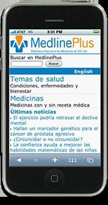 Página principal móvil de MedlinePlus en español en un iPhone