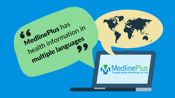 Two bubble quotes that contain the text, 'MedlinePlus has health information in multiple languages' and 'MedlinePlus brinda infomacion de salud en varios idiomas.'  MedlinePlus logo.