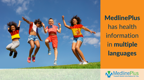 Kids jumping on a grassy hill, wearing t-shirts with different national flags. MedlinePlus logo