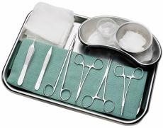 Photograph of medical instruments on a tray