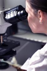 Fotografía de una científica mirando por un microscopio
