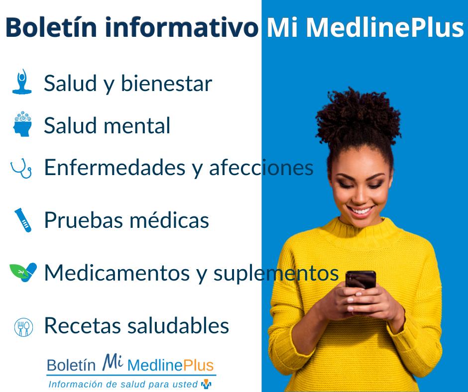 Persona sonriendo mira a su teléfono celular. Logo del boletín informativo Mi MedlinePlus.