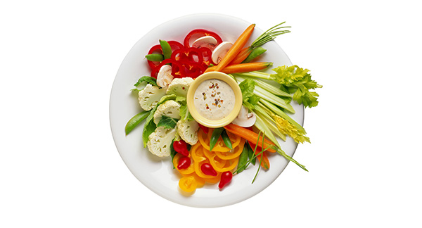 A photograph of a plate of vegetables