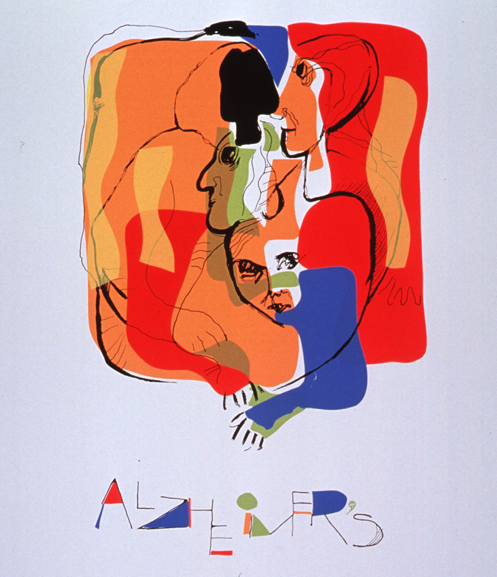 A brightly colored abstract including various faces and arms mingled together with the word ALZHEIMER'S in colorful abstract at the bottom.