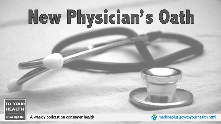 A stethoscope is curled up on a cloth with the words