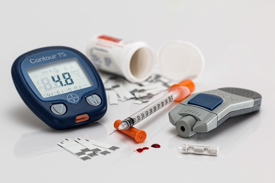 Diabetic supplies, including a glucose meter, test strips, lancet, and syringe