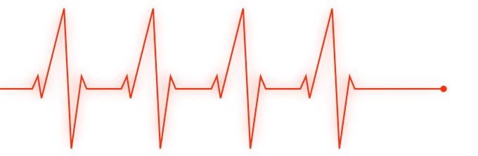 A heartbeat graph shown as a red line going across and then spiking up and down in sharp angles above and below the line at intervals