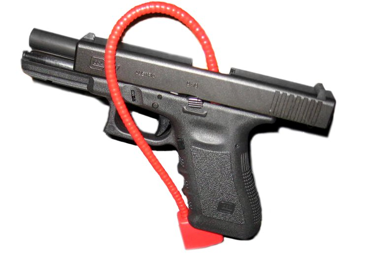 A gun with a red locking mechanism