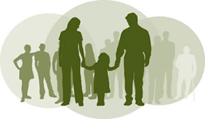 In a transparent green circle, there are dark green silhouettes of a mother and father with a daughter between them, holding their hands. There are two smaller transparent green circles behind them, to the right and left, that hold lighter green silhouettes of a crowd of people.