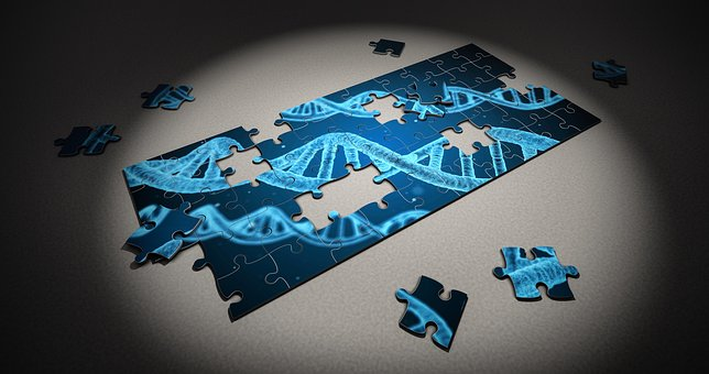A puzzle being put together of a light blue DNA double helix structure on a dark blue background