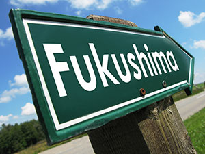 A street sign of the Fukushima Nuclear Plant where there was a nuclear accident on March 11, 2011, following a major earthquake