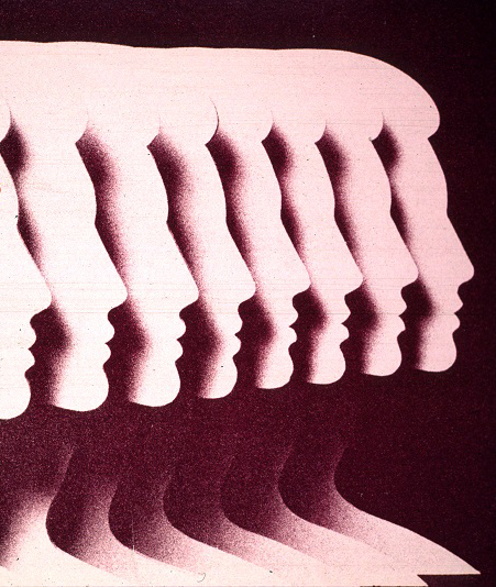 A profile silhouette of a woman duplicated eight times and placed side by side, each partially overlapping the previous silhouette