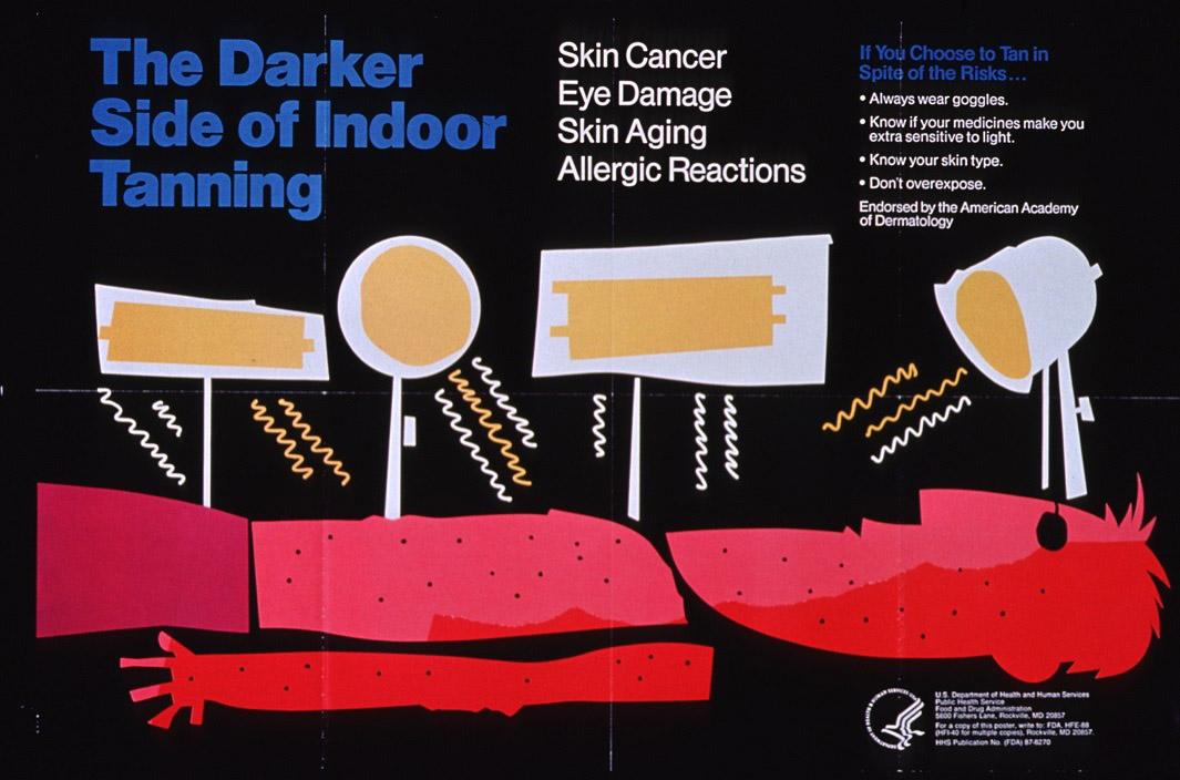 The Darker Side of Indoor Tanning - Skin Cancer, Eye Damage, Skin Aging, Allergic Reactions. If You Choose to Tan in Spite of the Risks... Always wear goggles, Know if your medicines make you extra sensitive to light, Know your skin type, Don't overexpose. Endorsed by the American Academy of Dermatology. Person under indoor tanning lights with red skin.