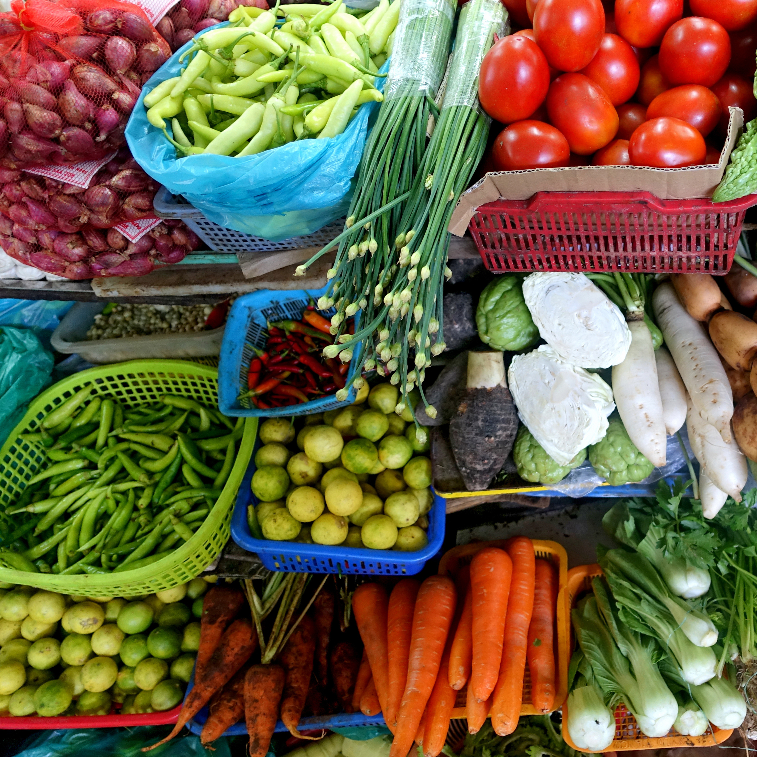 A display of a large variety of brightly colored nutritious and wholesome vegetables
