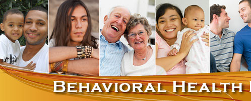 A collage of a variety of people above a banner with the words Behavioral Health
