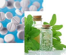 White medicine tablets on a light blue background behind corked glass medicine bottles with green plant cuttings placed around them