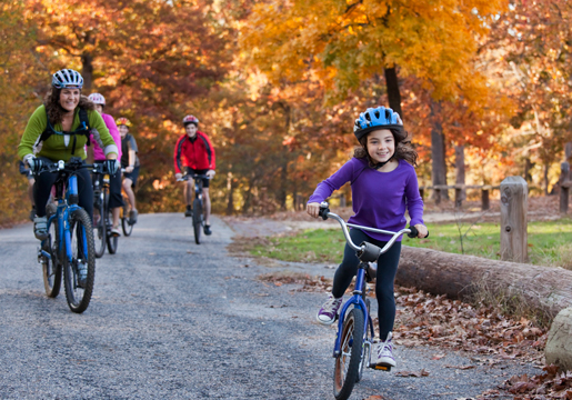 A family biking in a park on a path surrounded by trees with yellow and orange leaves