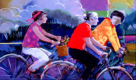 Illustration of three seniors riding bicycles