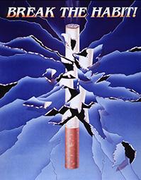 Break The Habit! illustration of a cigarette broken in fragments
