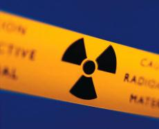 Photograph of a radioactive warning sign