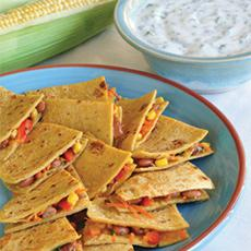 Veggie Quesadillas with Cilantro Yogurt Dip
