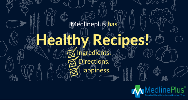 Fruits and vegetables and the MedlinePlus logo.