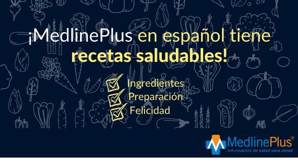 Frutas, vegetales y el logo de MedlinePlus.