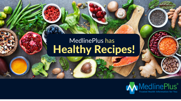 Fish, fresh produce, and the MedlinePlus logo.