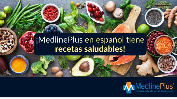 Pescado, vegetales frescos y el logo de MedlinePlus.