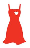 Ilustración del logo del vestido rojo, el símbolo nacional sobre la concientización de las enfermedades del corazón en la mujer