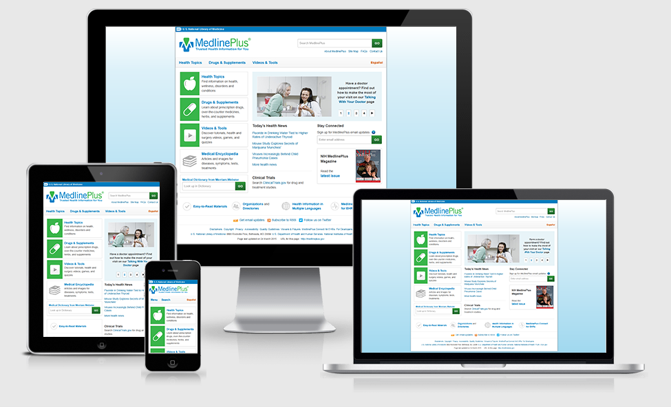 MedlinePlus home page on desktop, tablet, phone and laptop