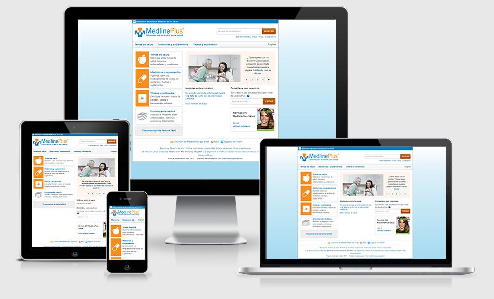 Página principal de MedlinePlus en español vista desde una pantalla de computadora, tableta, teléfono o laptop
