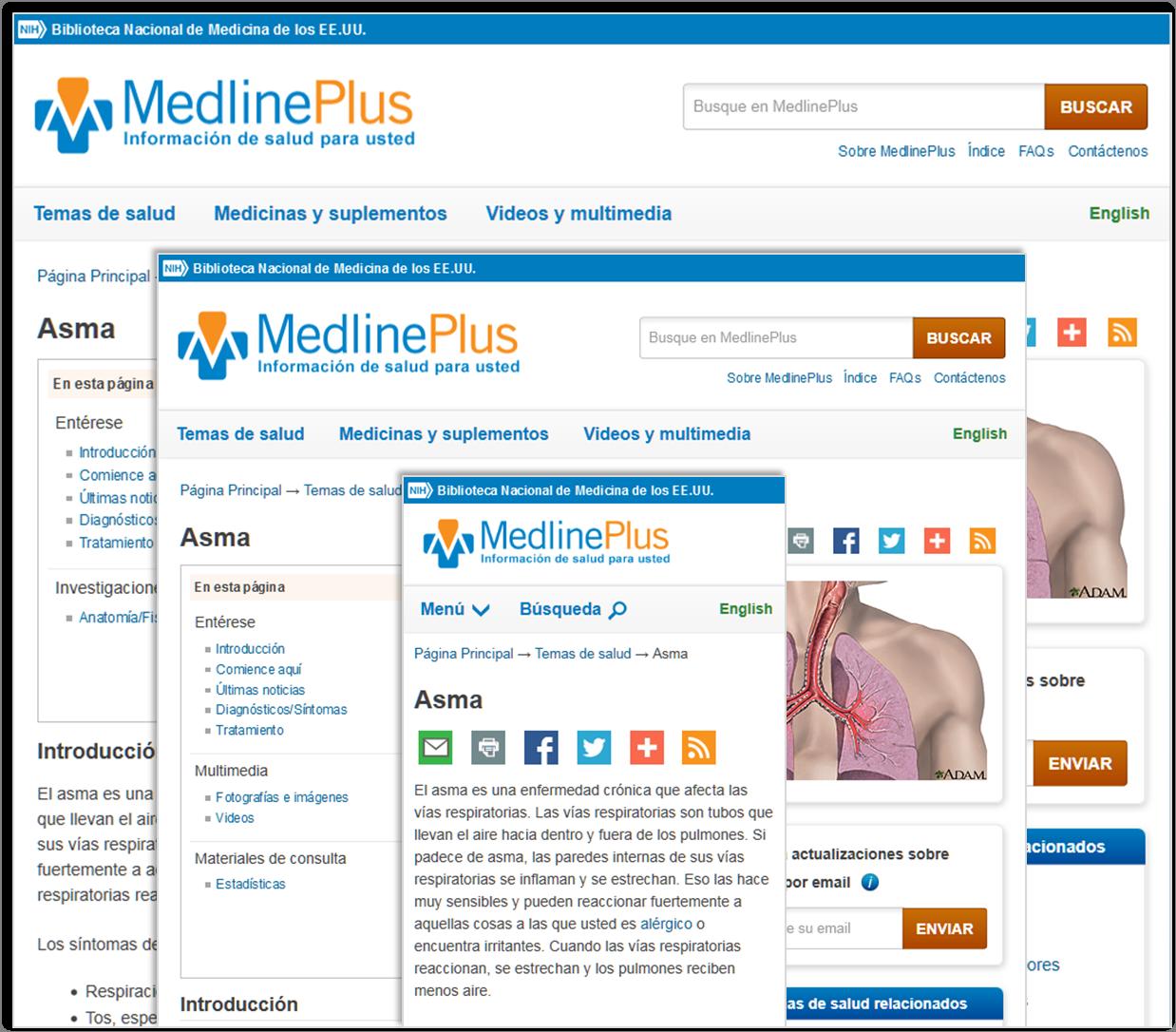 Página de asma en las versiones de computadora, tableta y teléfono