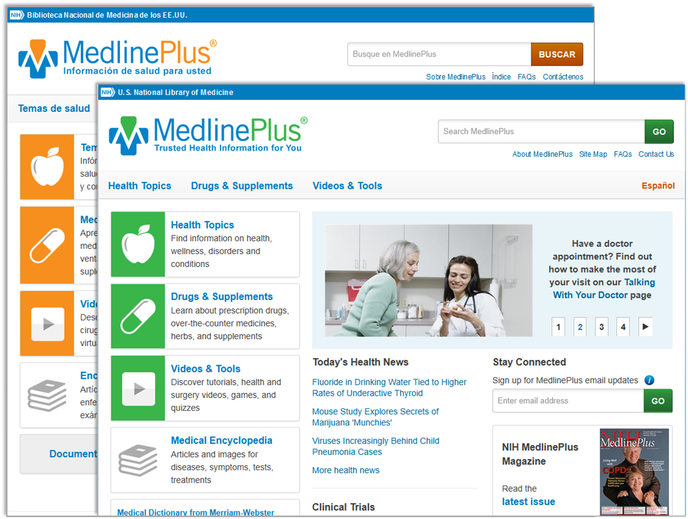English and Spanish MedlinePlus home pages