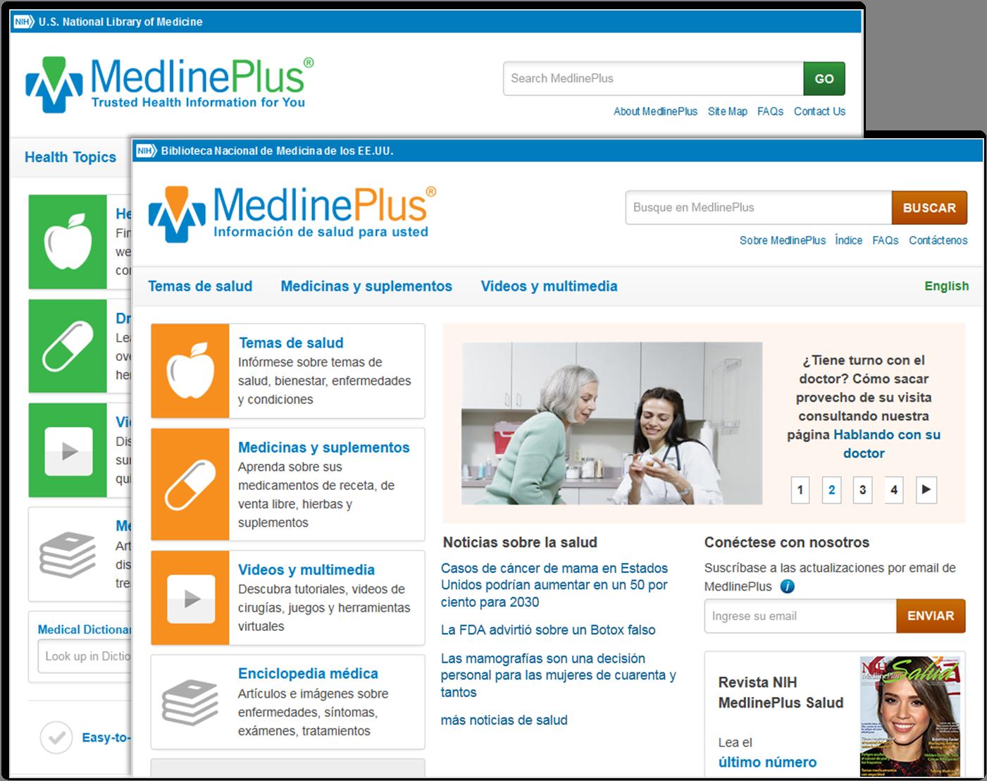 Páginas principales de MedlinePlus en español y en inglés