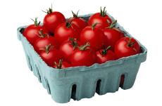 Fotografía de un cartón de tomates cereza